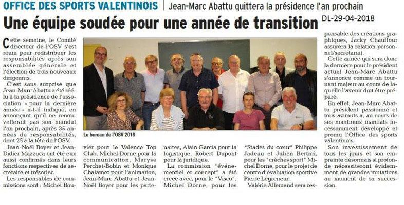 Dauphiné Libéré du 29-04-2018-Election du bureau de l'OSV