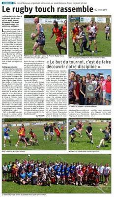 Le Dauphiné libéré du 31-05-2019- Rugby touch Annonay