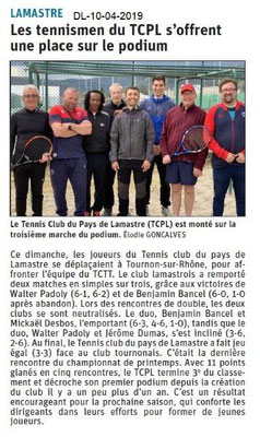 Le Dauphiné Libéré du 10-04-2019- Les tennismens de Lamastre