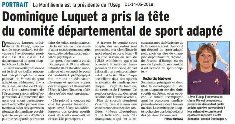 Dauphiné Libéré du 14-05-2018-Présidente au Comité Sport Adapté Drôme-Ardèche