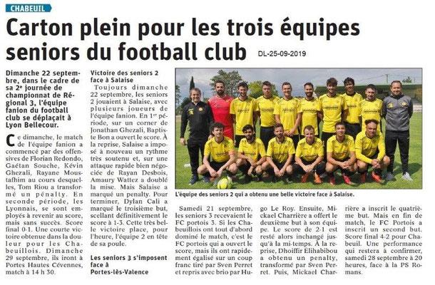 Dauphiné libéré du 25-09-2019- Foot de Chabeuil