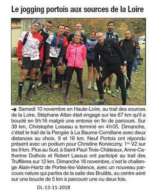 Dauphiné Libéré du 13-11-2018- JoggingClubPortois