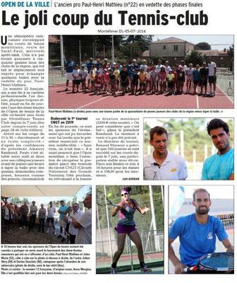 Dauphiné Libéré du 05-07-2018- Tennis à Montélimar