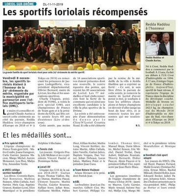 Le Dauphiné Libéré du 11-11-2019- Les Sportifs loriolais récompensés