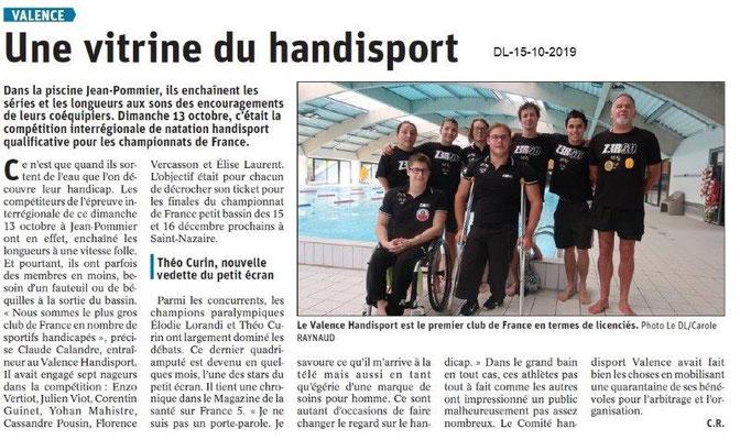 Dauphiné libéré du 15-10-2019- Handisport de Valence