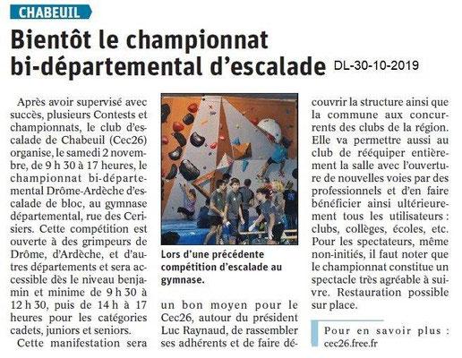 le Dauphiné Libéré du 30-10-2019- Escalade à Chabeuil.