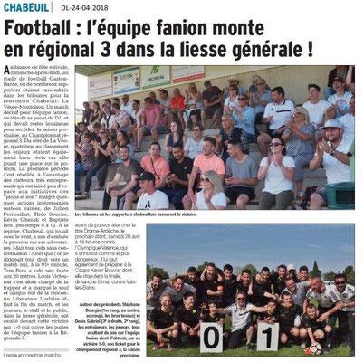 Dauphiné Libéré du 24-04-2018-Foot Régional 3-Chabeuil