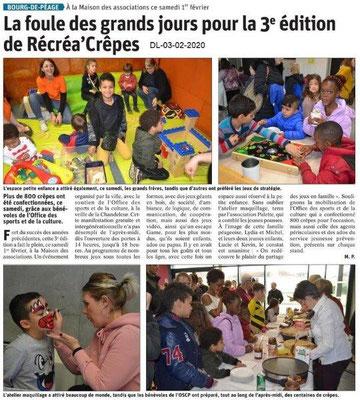 Le Dauphiné Libéré du 03-02-2020- OSCPBourg de Péage Récréa'crêpes