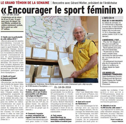 Dauphiné Libéré du 18-06-2018- Ardèchoise au féminin