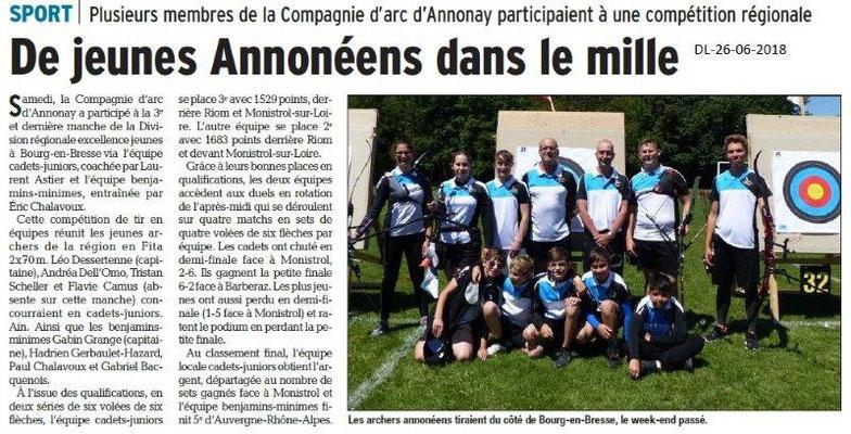 Dauphiné Libéré du 26-06-2016- Compétition du Tir à l'Arc d'Annonay