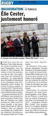 Dauphiné Libéré du 15-04-2018-Elie Cester honoré-Valence