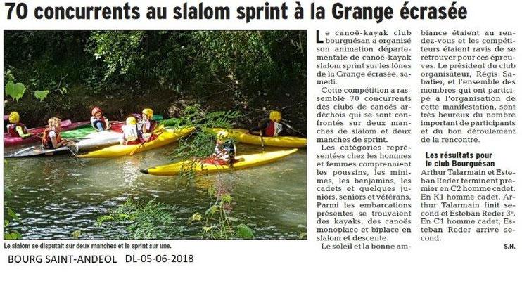 Dauphiné Libéré du 05-06-2018-Canoé-Kayack club bourguésin