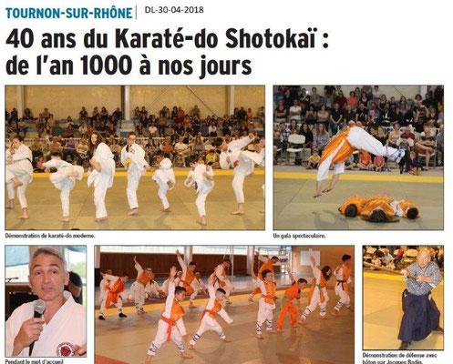 Dauphiné Libéré du 30-04-2018-40 ans du Karatéka-Tournon