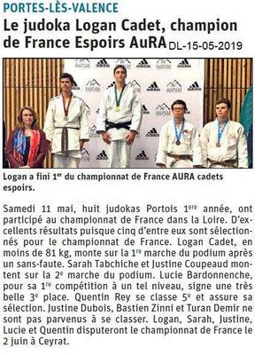 Le Dauphiné Libéré du 15-05-2019- Judo PLV