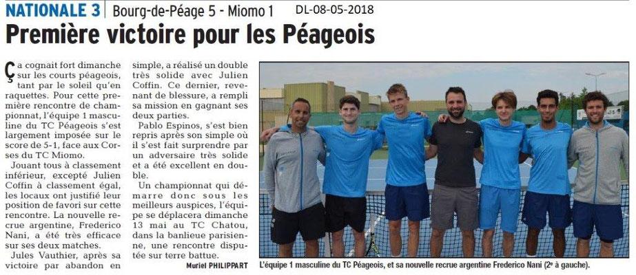 Dauphiné Libéré du 08-05-2018-Nationale 3 Tennis- Bourg de Péage