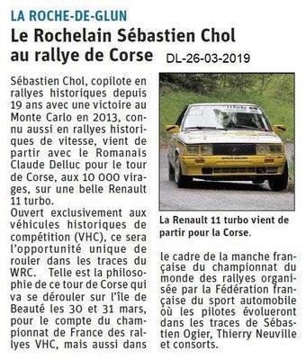 Dauphiné Libéré du 26-03-2019- Rallye de Corse pour un Rochelain