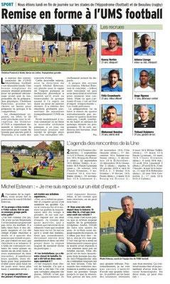 Dauphiné Libéré du 26-07-2018-Reprise de USM Football de Montélimar
