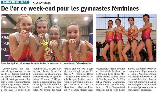 Dauphiné Libéré du 21-02-2019- Gym Tain l'Hermitage