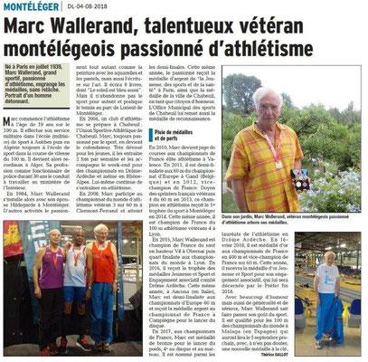 Dauphiné Libéré du 04-08-2018- Parcours de Marc WALLERAND