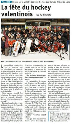 Dauphiné Libéré du 12-02-2019- Hockey les Lynxs de Valence
