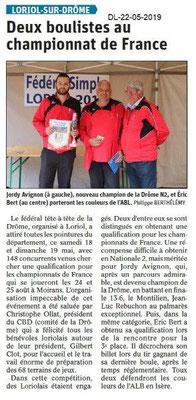 Le Dauphiné Libéré du 22-05-2019- Boulistes de Loriol