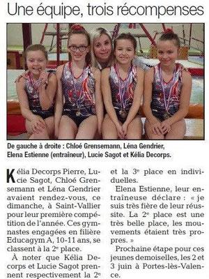 Dauphiné Libéré du 27-03-2018-UGSP GYM première compétition-Portes-lès-Valence
