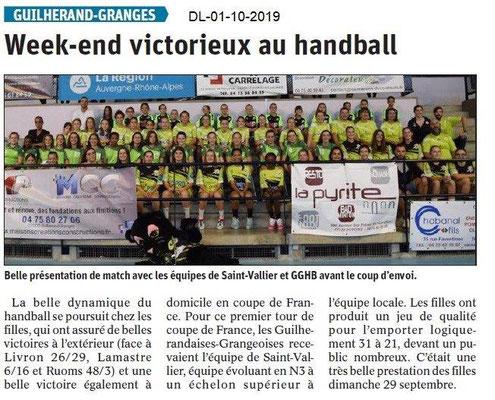 Dauphiné libéré du 01-10-2019- Handball féminines de Guilherand.