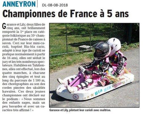 Dauphiné Libéré du 08-08-2018- Championne de France de Caisse à Savon à 5 ans