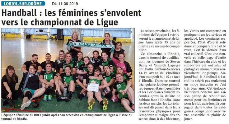 Dauphiné Libéré du 11-06-2019- Les Handballeuses de Loriol