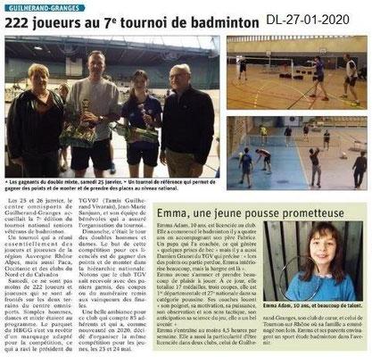 Dauphiné Libéré du 27-01-2020- Badminton à Guilherand