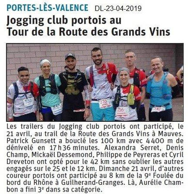 Le Dauphiné Libéré du 23-04-2019- Jogging portois