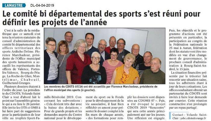 Le Dauphiné Libéré du 04-04-2019- CA CDOTS 07-26 à Lamastre