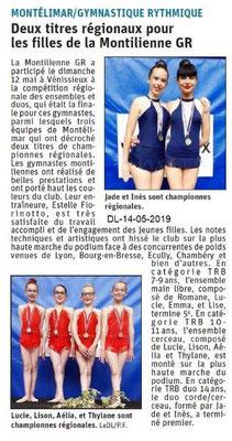 Le Dauphiné Libéré du 14-05-2019- Gymnastique Montélimar