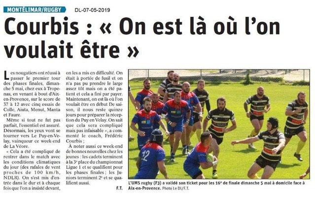 Le Dauphiné Libéré du 07-05-2019- Rugby de Montélimar