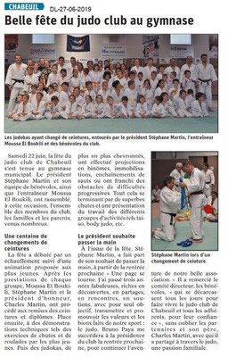 Dauphiné Libéré du 27-06-2019- Judo à Chabeuil