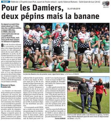 Le Dauphiné Libéré du 07-05-2019- Rugbymen des Damiers de Valence