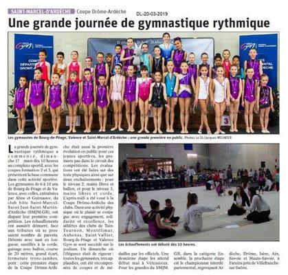 Dauphiné Libéré du 20-03-2019- Gymnastique rythmique de Bourg de Péage