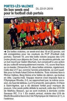 Dauphiné Libéré du 22-01-2019- Foot à Portes-lès-Valence