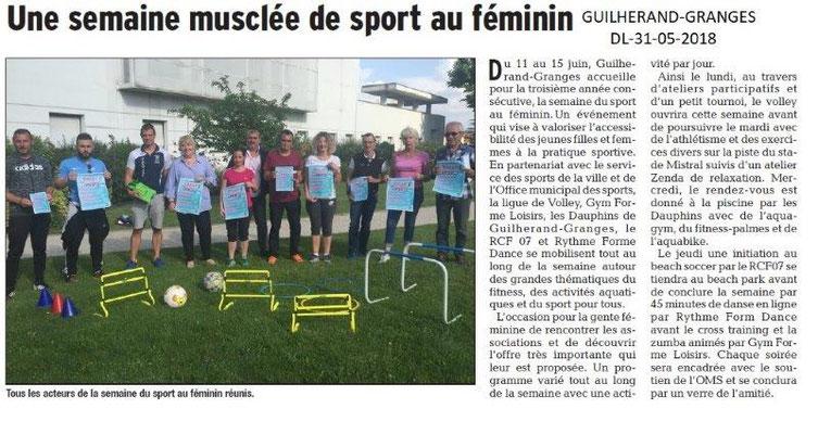 Dauphiné libéré du 31-05-2018-Sport au féminin à Guilherand-Granges