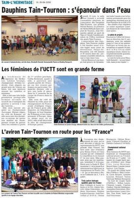 Dauphiné Libéré du 26-06-2016- Activitées sportives à Tain-Tournon