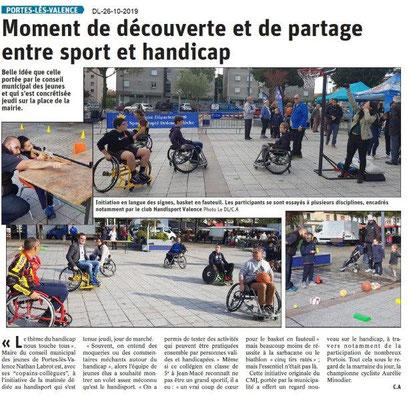 Dauphiné libéré du -26-10-2019- Découverte du monde sportif handicapPLV