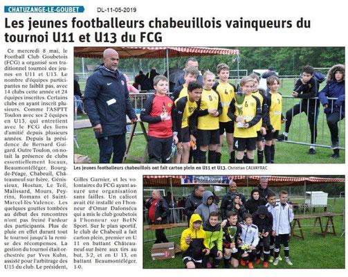 Le Dauphiné Libéré du 11-05-2019- Footballeurs Chabeuillois