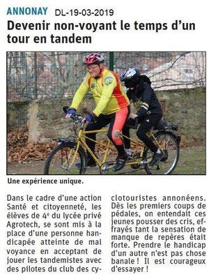 Dauphiné Libéré du 19-03-2019- Cyclo- Action santé à Annonay