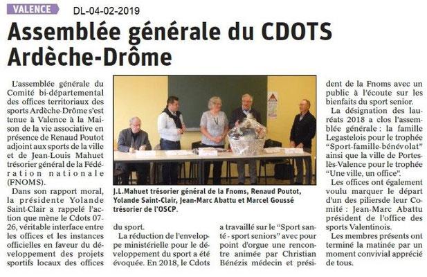Dauphiné Libéré du 04-02-2019- AG CDOTS 07-26 à Valence