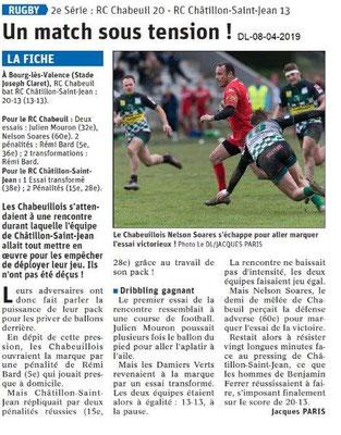 Le Dauphiné Libéré du 08-04-2019- Rugby 2ième série de Chabeuil