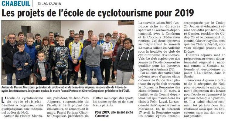 Dauphiné Libéré du Les cyclos de Chabeuil