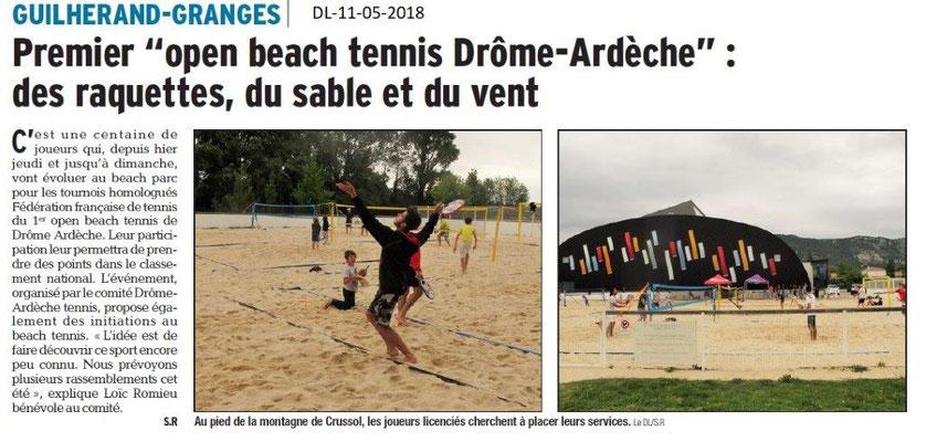 Dauphiné Libéré du 11-05-2018-1er open beach tennis Drôme-Ardèche à Guilherand-Granges