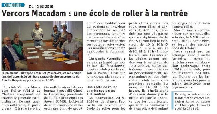 Dauphiné Libéré du 12-06-2019- Ecole de Rollers à Chabeuil