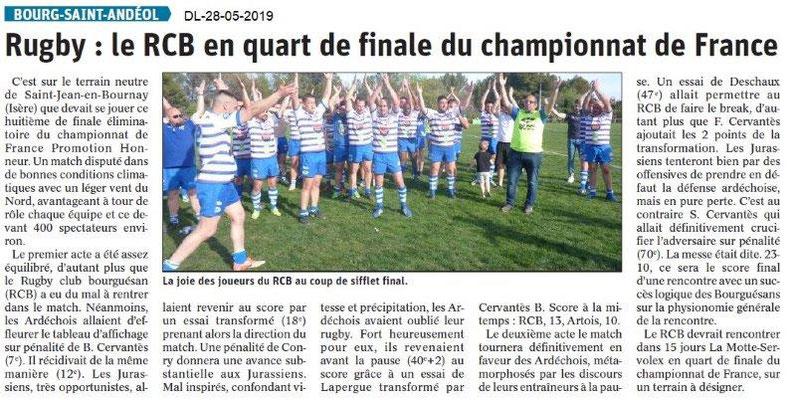 Le Dauphiné libéré du 28-05-2019- Rugby de BSA