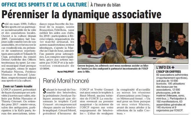 Dauphiné Libéré du 15-03-2018 AG de L'OSCP-Bourg de Péage